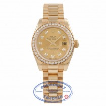 Rolex Datejust 26MM 18k Yellow Gold Diamond Bezel Champagned Diamond Dial President Bracelet 179138 W1UK4T - Beverly Hills Watch Company Watch Store