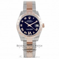Rolex Dayjust 18k Rose Gold Stainless Steel Diamond Rose Gold Domed Bezel Purple Dial 178341 3A3H8V - Beverly Hills Watch Company Watch Store