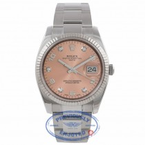 Rolex Datejust 34MM Stainless Steel 18k White Gold Fluted Bezel Pink Diamond Dial 115234 H154W3 - Beverly Hills Watch Company Watch Store