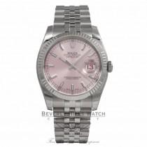 Rolex DateJust Pink Stick Dial White Gold Fluted Bezel 116234 3WL5UQ - Beverly Hills Watch Store