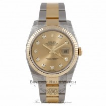 Rolex DateJust 18K Yellow Gold Stainless Steel Fluted Bezel Champagne Diamond Dial 116233 VK7R2F - Beverly Hills Watch Company Watch Store