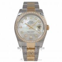 Rolex Datejust 36MM Yellow Gold Stainless Steel Diamond Bezel Mother of Pearl Diamond Dial 116243 N0D10C - Beverly Hills Watch Store
