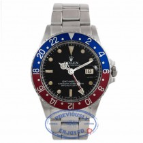 Rolex GMT Master Stainless Steel Blue and Red 'Pepsi' Bezel Vintage Watch 1675 YFJF71 - Beverly Hills Watch Store
