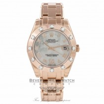 Rolex Masterpiece Datejust Special Edition 34MM 18k Rose Gold Diamond Bezel Mother of Pearl Diamond Roman IV Dial 81315 Beverly Hills Watch Company Watch Store