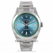 Rolex Milgauss 40mm Green Crystal Stainless Steel Blue Dial 116400GV VMFEKT - Beverly Hills Watch Company