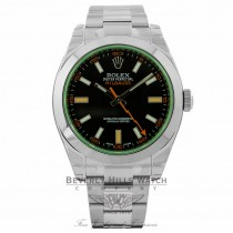 Rolex Milgauss 40mm Green Crystal Stainless Steel Black Dial Watch 116400 R5KCRK - Beverly Hills Watch Company