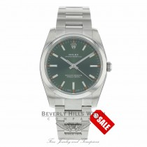 Rolex Oyster Perpetual 34mm Olive Green Dial Stainless Steel Oyster  114200 KTEDCP - Beverly Hills Watch
