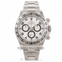 Rolex Daytona Chronograph 18K White Gold Oyster Bracelet Silver Arabic Dial Watch 116509 - Beverly Hills Watch Company Watch Store