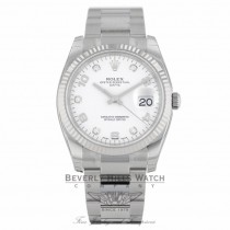 Rolex Date 34MM Stainless Steel 18k White Gold Fluted Bezel White Diamond Dial 115234 PUTNYL - Beverly Hills Watch Company