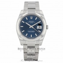 Rolex Date 34mm Stainless Steel Oyster Bracelet Domed Bezel Blue Stick Dial Watch 115200 K2YKK8 - Beverly Hills Watch Company