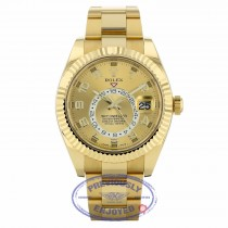 Rolex Sky-Dweller Yellow Gold 42mm Dual Time Annual Calendar Champagne Sunray Dial 326938 HZDRHW - Beverly Hills Watch Company