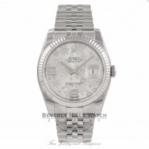 Rolex DateJust Silver Floral Motif Dial 18k White Gold Fluted Bezel 116234 - Bervely Hills Watch Company Watch Store
