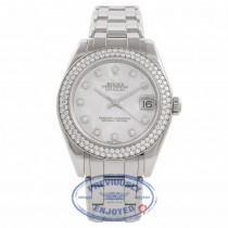 Rolex Pearlmaster Datejust 34mm White Gold Bracelet Mother of Pearl Diamond Dial Diamond Bezel Automatic Ladies Watch 81339 Beverly Hills Watch Company Watch Store