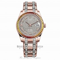 Datejust Pearlmaster 39mm Everose Gold Pave Diamond Dial Gradiant Bezel 86345SAJOR 1PL4Y2 - Beverly Hills Watch Company