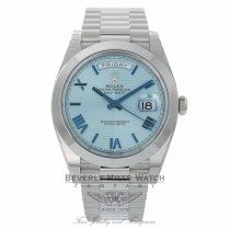 Rolex Day Date 40mm Platinum President Ice Blue Diagonal Dial ECUZ6V-2 - Beverly Hills Watch Company