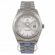Rolex Day-Date II 18K White Gold Silver Dial Fluted Bezel President 218239 PUEPV2 - Beverly Hills Watch Company Watch Store