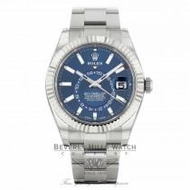 Rolex Sky-Dweller Stainless Steel 18k White Gold Fluted Bezel 42mm Blue Dial 326934 VR2P51 - Beverly Hills Watch