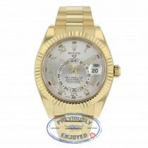Rolex Sky-Dweller Yellow Gold 42mm Dual Time Annual Calendar Silver Dial 326938 K2MN5A - Beverly Hills Watch Company