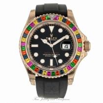 Rolex Yacht-Master 40mm Rose Gold Rainbow Oysterflex Rubber Strap 116695SATS ZL7VZN - Beverly Hills Watch