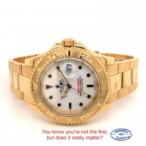 Rolex Yachtmaster 40mm Yellow Gold White Dial Watch 16628 U2VXPJ - Beverly Hills Watch Company