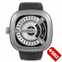 SevenFriday M1 Stainless Steel Silver Dial Black Leather Strap - Beverly Hills  Watch Store