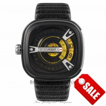 SevenFriday M2 Black PVD Stainless Steel Black Yellow Dial Black Leather Strap SF-M2_01 N89JRL - Beverly Hills Watch Store