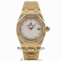 Audemars Piguet Royal Oak Ladies 33MM 18K Yellow Gold Diamond 67601BA.ZZ.1210BA.02 ZDFXDN - Beverly Hills Watch Store