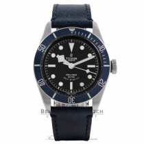 Tudor Heritage Black Bay 41MM Stainless Steel Matte Blue Disc Bezel Black Dial Blue Leather Strap 79220B 0WMQXR - Beverly Hills Watch Company Watch Store