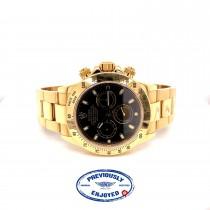 Rolex Daytona Black Dial Yellow Gold Oyster Bracelet 116528 UAMTNP - Beverly Hills Watch Company