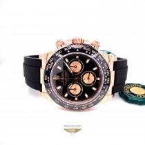 Rolex Daytona Everose Cerachrom Bezel Black Dial Oysterflex 116515LN - Beverly Hills Watch Company