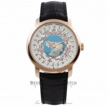 Vacheron Constantin Patrimony Traditionnelle World Time Rose Gold White Dial Globe Black Alligator Strap 86060/000R-9640 NLX0T7 - Beverly Hills Watch Store