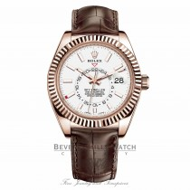 Rolex Sky-Dweller 18K Everose 42mm White-Stick Dial Leather Strap Watch 326135 XLKT4N - Beverly Hills Watch Company