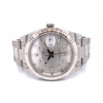 Rolex Datejust 41mm White Gold Fluted Silver Dial Index Oyster Bracelet 126334 Y0WZNT - Beverly Hills Watch