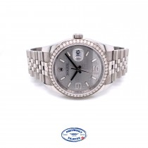 Rolex Datejust 36MM 18k White Gold Diamond Bezel Silver Diamond Dial 116244 Y1M9L5 - Beverly Hills Watch Company