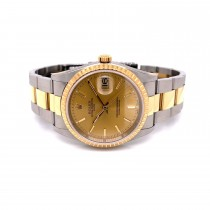 Rolex Date 34mm Fluted Yellow Gold and Stainless Champagne Dial 15233 Z37600 - Beverly Hills Watch Company