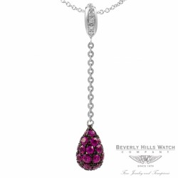 Pendant in 18k White Gold and Rubies PDW5204DR 1345 - Beverly Hills Watch Company