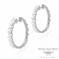 Designs by Naira 18k White Gold Baguette Medium Hoops Earrings 39640 6RPJU9  - Beverly Hills Jewelry Store