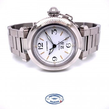 Cartier Pasha C 35MM Stainless Steel Automatic White Dial Big Date Bracelet W31074M7 0LKY92 - Beverly Hills Watch Company Watch Store