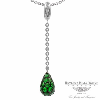 Pendant in 18k White Gold and Tsavorites PDW5204DZ.TVR 1347 - Beverly Hills Watch Company