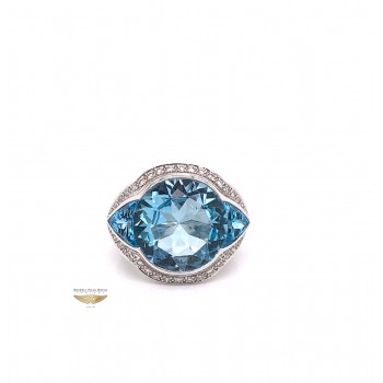 Naira & C Blue Topaz and Diamond White Gold Cocktail Ring 14526 - Beverly Hills Watch & Jewelry Company