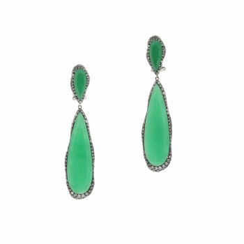 White Gold Chrysoprase Drop Earrings Silver and White Diamonds Naira & C 3FC5IN - Beverly Hills Watch