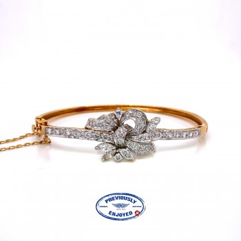 Vintage Yellow Gold Marquise Floral Diamond Bangle Bracelet - Beverly Hills Watch and Jewelry Company