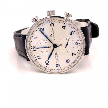 IWC Portugieser 41mm Chronograph Stainless Steel Silver Dial IW371446 22NQVK - Beverly Hills Watch Company