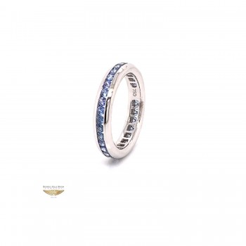 Blue Sapphire Eternity Band 18K White Gold 2652 - Beverly Hills Watch and Jewelry Company
