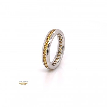 Yellow Sapphire Eternity Band 18K White Gold 2654 - Beverly Hills Watch and Jewelry Company