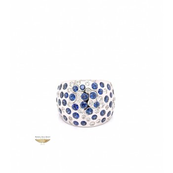 Naira & C Diamond and Sapphire Domed White Gold Ring 2667 - Beverly Hills Watch and Jewelry Company