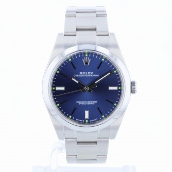 Rolex Oyster Perpetual 39mm Stainless Steel Blue Dial 114300 3L95TX - Beverly Hills Watch Company