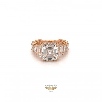 4.51 Asscher Cut VS1 E Color Diamond Ring GIA 8WEWF1