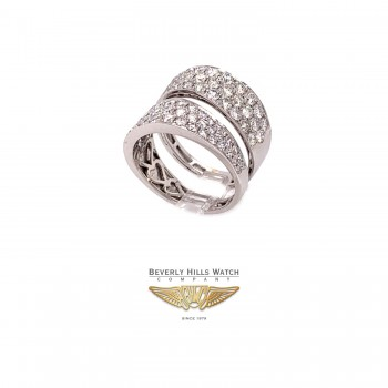 Naira & C Double Band Diamond White Gold Ring 4PEW5W - Beverly Hills Watch and Jewelry Store