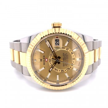 Rolex Sky-Dweller 42mm Stainless Steel Yellow Gold Champagne Dial 326933 4PF8QP - Beverly Hills Watch Company